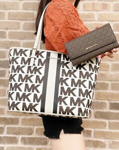 Michael Kors Jet Set MD Carryall Tote Graphic MK White + Brown Trifold Wallet