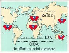 Zaire 1989 Anti-AIDS Campaign/Medical/Health/Welfare/Maps 1v m/s (n15019h)