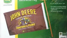 "NEW John Deere 28"" x 44"" Decorative Licensed Brown Tractors &  Plows Flag"