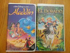 2 VHS TAPES DREAMWORKS EL DORADO WALT DISNEY ALADDIN BLACK DIAMOND