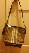 NWT Coach Legacy Signature Stripe Khaki/Mahogany Duffle Shoulder Bag 19918($298)