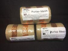 (R) Lot Of 3 - 5 In by 10 Yards Each Burlap Mesh Metallic Brown & Orange Color