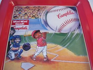 Campbell Kids Campbell Soup Metal Tray Batting Practice Baseball USA 1996 Red