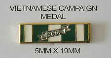 VIETNAM CAMPAIGN MEDAL RIBBON BAR 5MM X 19MM ENAMEL & NICKEL PLATED WITH 1 PIN