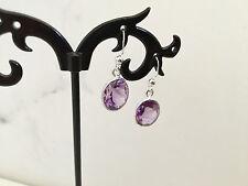925 Sterling Silver Amethyst Oval Drop Dangle Earrings Gemstones Semi Precious