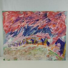 Men on Horses Snow Storm Original Art by Bruce Pettit 1995 Mixed Media Paint