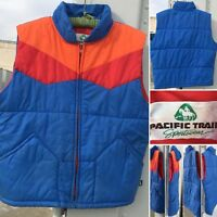 Vintage Pacific Trail Sportswear Puffer Vest Blue Orange Red 70s 80s M L 1970s