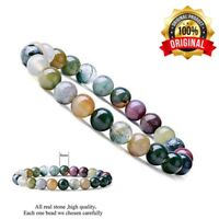 OET 8mm Gorgeous Indian Agate Healing Crystal Stretch Beaded Bracelet Unisex