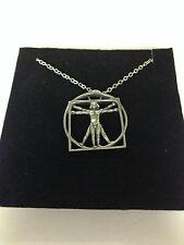 "DA VINCI VITRUVIAN MAN DVMKR    Emblem on Silver Platinum Plated Necklace 18"""