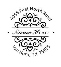 Customized Designer Round Name With Return Address Self Inking Rubber Stamp