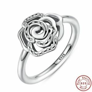 925 Sterling Silver Shimmering Delicate Rose Flower Ring with Clear CZ Crysta...