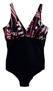 Costume donna Intero Ferana nero rosso Taglie MAXI forti