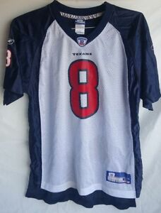 Houston Texans # 8 David Carr White Blue Jersey Youth XL 18-20 Used
