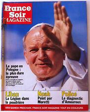 France Soir Magazine du 11/6/1983; Le pape en Pologne/ Bowie/ Noah par Moretti
