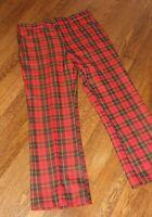 VTG 60s 70s KINGS LANE Men's 36 x 30 Red Plaid Flared Pants