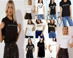 Women Celebrity Designer Inspired Casual Loose Top Ladies T-Shirt Slogan Stripes