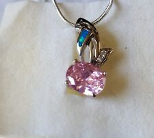 Pretty blue fire opal & pink CZ pendant with 20''chain