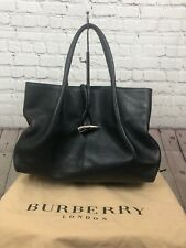 Burberry Large Pebbled Leather Hobo Satchel With Metal Clasp