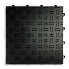 GarageTrac in BLACK - 24 Pack -Diamond Garage & Shop Floor Tile MADE IN THE USA