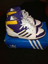 VTG Adidas Instinct Retro Basketball Shoes White/Purple/Yellow 10.5