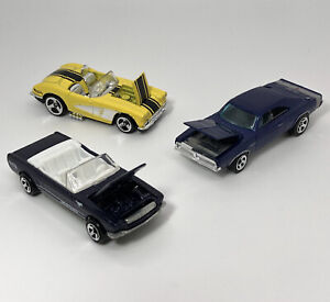 RARE Vintage Hot Wheels '65 Mustang Convertible '58 Corvette, Charger HOODS OPEN