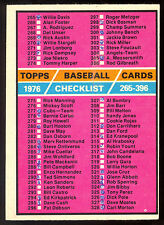 1976 TOPPS OPC O PEE CHEE BASEBALL #392 CHECKLIST 50% UNMARKED 3rd 265-396 CARD