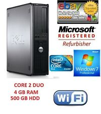 WIRELESS DELL DESKTOP CORE 2 DUO PC WINDOWS 7, 500GB 4GB COMPUTER TOWER, SALE