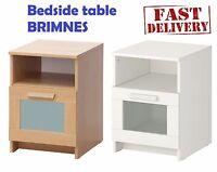 IKEA Bedside End Table Cabinet Drawer BRIMNES White & Oak Effect 39x41 cm
