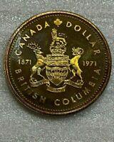 1971 (1871) Canadian $1 British Columbia Centennial Silver Dollar Coin ~ Toned