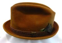Saxson Men's Fedora Style Hat Solid Brown Wool Felt Feather Hat 6 7/8