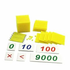 1Set Montessori Mathematics Material Checker Board Beads With Wooden Number Card