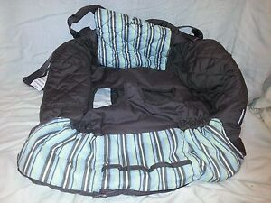 GOLDBUG Striped Shopping Cart Cover Brown Blue Yellow White Shoulder Harness