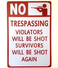 TRESPASS METAL WALL SIGN TIN PLAQUE VINTAGE FUNNY BEDROOM GARAGE SHED KEEP OUT
