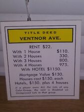 Monopoly Ventnor Avenue Property Deed Title Replacement Card