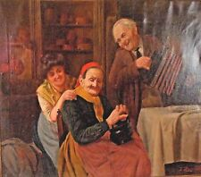 """Jules Zermati Italian """" Fiddler"""" Antique Large Signed Oil On Canvas Painting."""