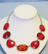Necklace Bright Red Big Faceted Discs Round & Tear Drop Shapes ST Exc Con 57