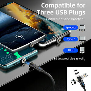 3 in 1 Magnetic Fast Charging USB Cable Charger 3A Phone Type-C Micro USB IOS UK