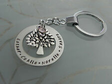 Personalised  Hand Stamped Family Names Mothers Tree Of Life Keyring