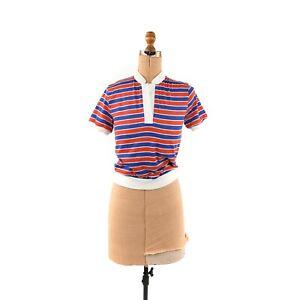 Vintage 70s 80s Blue + Red Stripe Short Sleeve Notch V Neck Summer T Shirt Top
