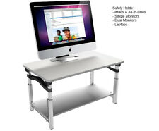 LIFT tall sturdy adjustable height sit stand computer monitor stand riser white