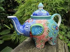 Fair Trade Indian Hand Made Painted Ceramic Elephant Teapot Coffee Tea Pot