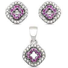 New Design Ruby .925 Sterling Silver Earring and Pendant Set