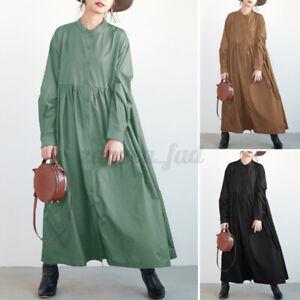 ZANZEA Damen Langärmlige Freizeit Kleid Maxikleid A-Linie Blusekleid Partykleid
