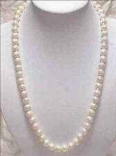 """natural 8-9mm White Akoya Cultured Pearl gems beads Necklace 25"""" wholesale"""