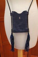 Henry Beguelin Blue Fringe Trim Crossbody Pocket Purse Shoulder Bag