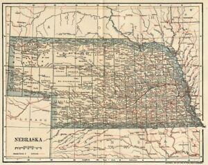 NEBRASKA Map: Genuine 1891 (dated) Counties, Towns, Topography, Railroads