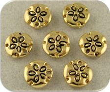 Sand Dollar Beads GOLD~Ocean Beach Sea Shells 2 Hole Metal Sliders Buttons QTY 7