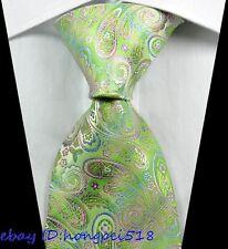 New Classic Paisleys Green Purple JACQUARD WOVEN 100% Silk Men's Tie Necktie