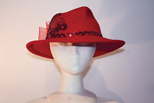 Women's Red Wool Wide Brim Western Hat with Bow