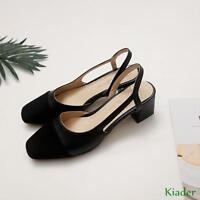 New Ladies Slingbacks Mid Block Heels Pumps Court Shoes Casual Sandals Plus Size